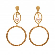 925 Sterling Silver Jewelry  Round Shape  Pearl  Gemstone Gold Plated Earrings
