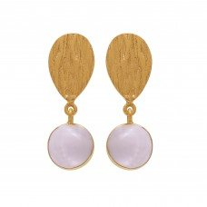 Rose Quartz Round Shape Gemstone 925 Sterling Silver Gold Plated Earring Jewelry