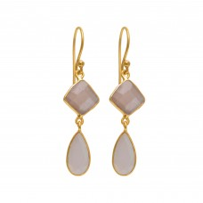 925 Sterling Silver Jewelry  Fancy Pear Shape Grey Moonstone  Gemstone Gold Plated Earrings