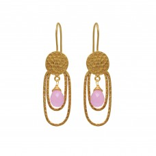 925 Sterling Silver Jewelry    Pear Shape Rose Chalcedony   Gemstone Gold Plated Earrings