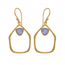 925 Sterling Silver Jewelry  Traingle Shape Rainbow Moonstone  Gemstone Gold Plated Earrings