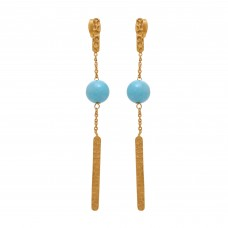 Round Shape Aqua Chalcedony  925 Silver Jewelry Gold Plated Earrings