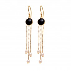 Black Onyx & Pearl 925 Silver Jewelry Gold Plated Earrings