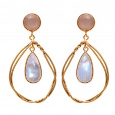925 Sterling Silver Jewelry  Round Shape Peach Moonstone Pear Shape Rainbow Moonstone Gemstone Gold Plated Earrings