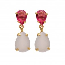 Pear Shape Pink Quartz  & White Moonstone Gemstone 925 Sterling Silver Gold Plated Earring
