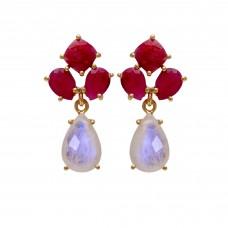 925 Sterling Silver Jewelry  Cushion & Pear  Shape Ruby Pear Shape Rainbow Moonstone Gemstone Gold Plated Earrings