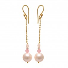 925 Sterling Silver Jewelry  Round  Shape Pearl Rose Chalcedony  Gold Plated Earrings
