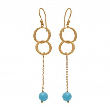 925 Sterling Silver Jewelry  Round Shape Aqua Chalcedony  Gemstone Gold Plated Earrings