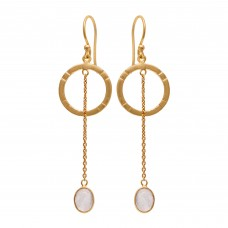 925 Sterling Silver Jewelry  Oval  Shape  Rainbow Moonstone Gemstone Gold Plated Earrings