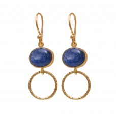 925 Sterling Silver Jewelry    Oval Shape Blue Kynite   Gemstone Gold Plated Earrings