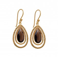 Pears Shape Smoky Quartz Gemstone 925 Sterling Silver Gold Plated Earring