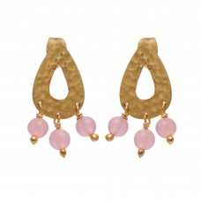 925 Sterling Silver Jewelry    Round Shape Rose Chalcedony   Gemstone Gold Plated Earrings