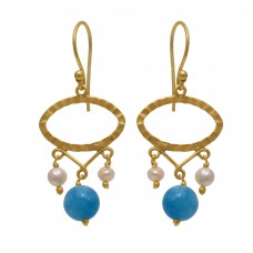 925 Sterling Silver Jewelry    Round Shape Pearl & Aqua Chalcedony  Gemstone Gold Plated Earrings