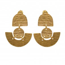 925 Sterling Silver Jewelry  Plain  Gold Plated Earring