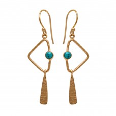 925 Sterling Silver Jewelry  Round Shape Turquoise  Gemstone Gold Plated Earrings