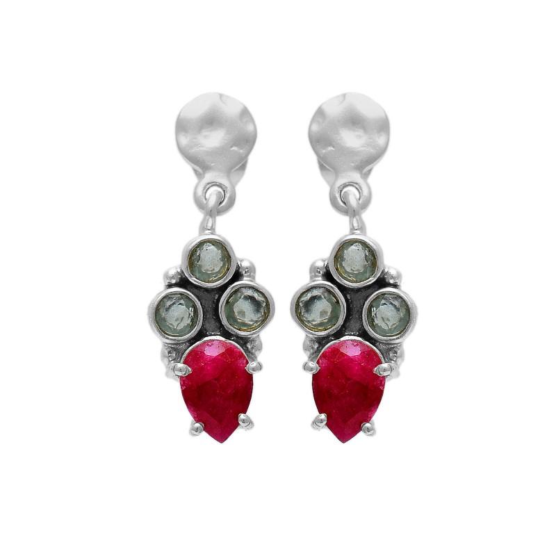 925 Sterling Silver Jewelry    Round Shape Blue Topaz Pear Shape Ruby  Gemstone Gold Plated Earrings