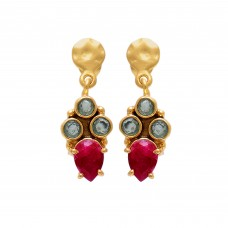 925 Sterling Silver Jewelry    Round Shape Blue Topaz Pear Shape Ruby  Gemstone Gold Plated Earrings