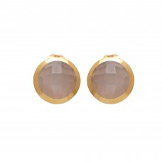 925 Sterling Silver Jewelry    Round Shape Peach Moonstone Gemstone Gold Plated Earrings
