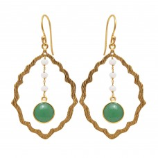 925 Sterling Silver Jewelry    Round Shape Green Apatite & White Moonstone  Gemstone Gold Plated Earrings