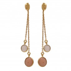 925 Sterling Silver Jewelry    Round Shape White Moonstone & Peach Moonstone Gemstone Gold Plated Earrings