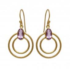 925 Sterling Silver Jewelry Oval Shape Amethyst  Gemstone Gold Plated Earrings