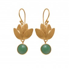 925 Sterling Silver Jewelry Round Shape Green Apatite  Gemstone Gold Plated Earrings