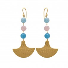 925 Sterling Silver Jewelry    Round Shape Aqua Chalcedony & Rose Chalcedony  Gemstone Gold Plated Earrings