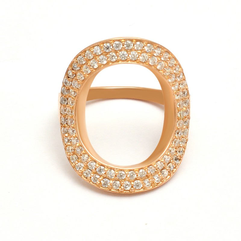 Pave Cubic Zirconia Gemstone 925 Sterling Silver Gold Plated Cocktail Ring Jewelry
