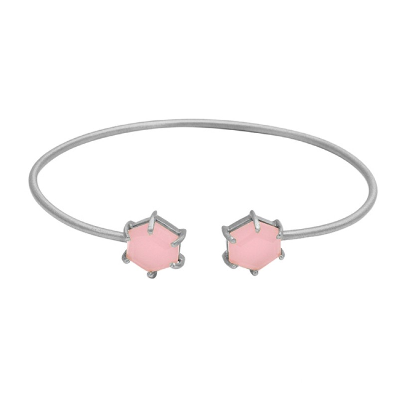 Beautiful Rose Chalcedony sterling silver gold plated bangle
