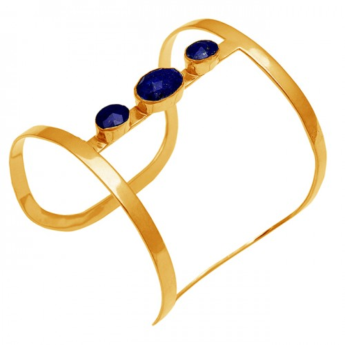 Oval Shape Blue Sapphire Gemstone 925 Sterling Silver Gold Plated Bangle Jewelry