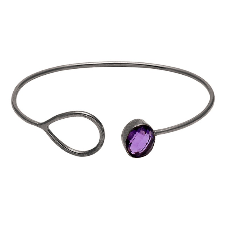 Amethyst Oval Shape Gemstone 925 Sterling Silver Gold Plated Bangle Jewelry
