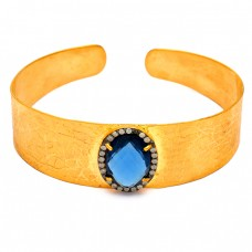 Pave Cubic Zirconia Blue Quartz Gemstone 925 Sterling Silver Gold Plated Bangle Jewelry