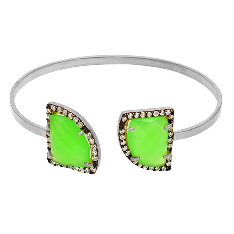 Pave Cz Prehnite Chalcedony Gemstone 925 Sterling Silver Gold Plated Bangle Jewelry