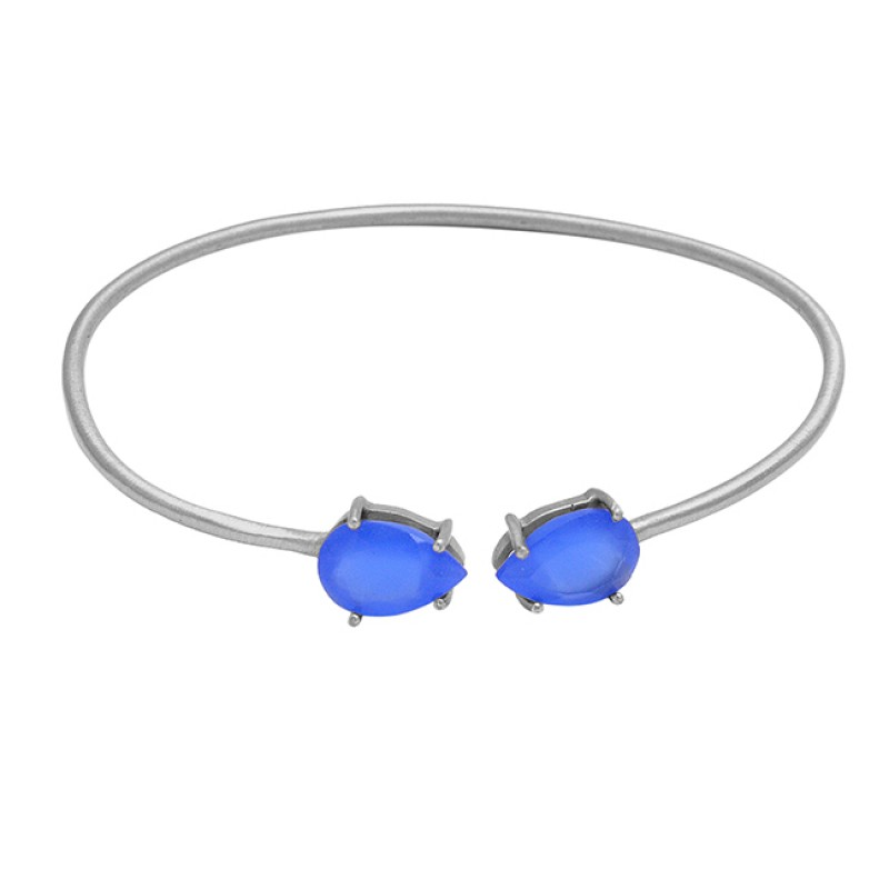 Fashionable Blue Chalcedony sterling silver gold plated bangle jewelry