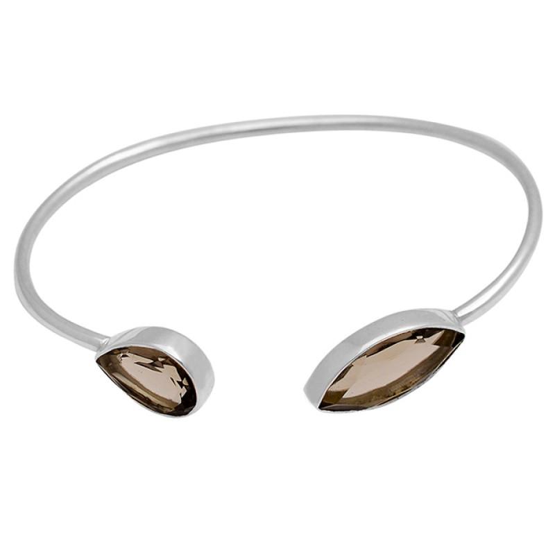 Pear Marquise Shape Smoky Quartz Gemstone 925 Sterling Silver Bangle