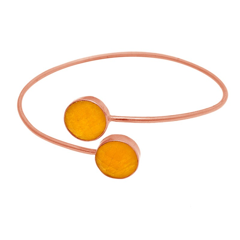 Round Shape Yellow Jade Gemstone 925 Sterling Silver Gold Plated Bangle