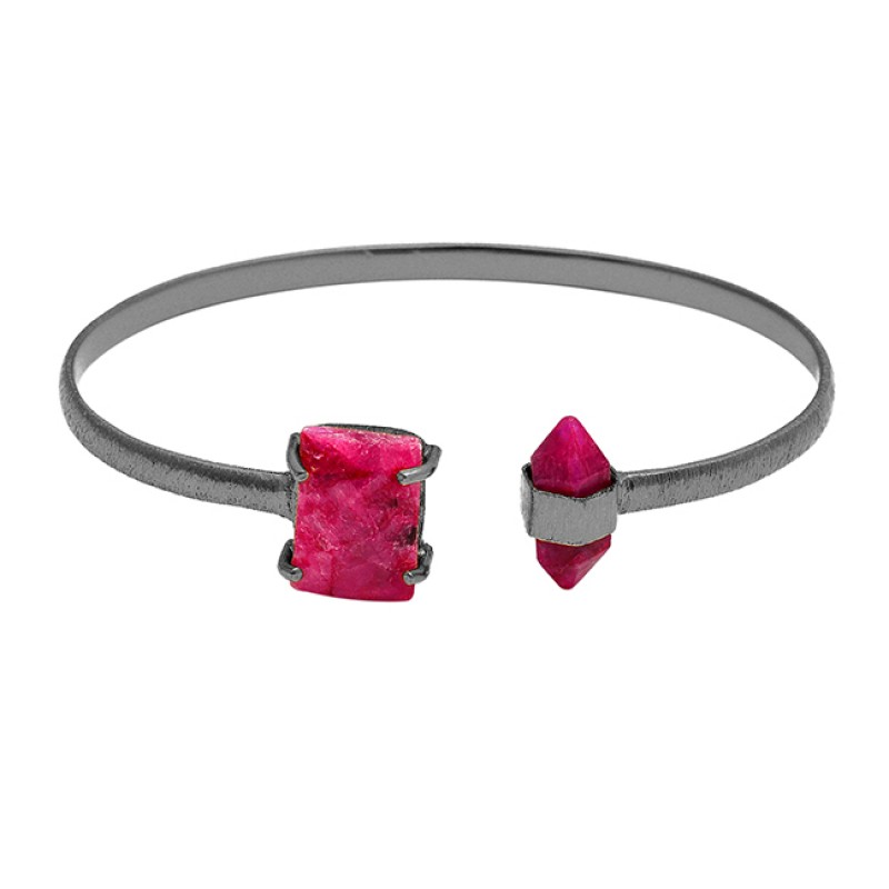 Octagon Pencil Shape Ruby Gemstone 925 Sterling Silver Gold Plated Bangle