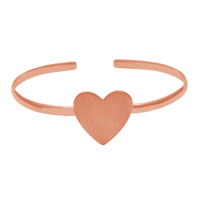925 Sterling Silver Plain Heart Shape Designer Gold Plated Bangle Jewelry
