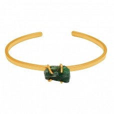 Green Apatite Rough Gemstone 925 Sterling Silver Gold Plated Bangle Jewelry