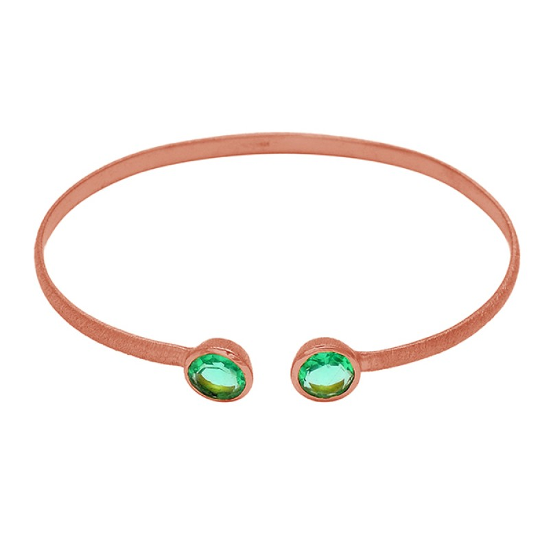 Round Shape Apatite Quartz Gemstone 925 Sterling Silver Gold Plated Bangle