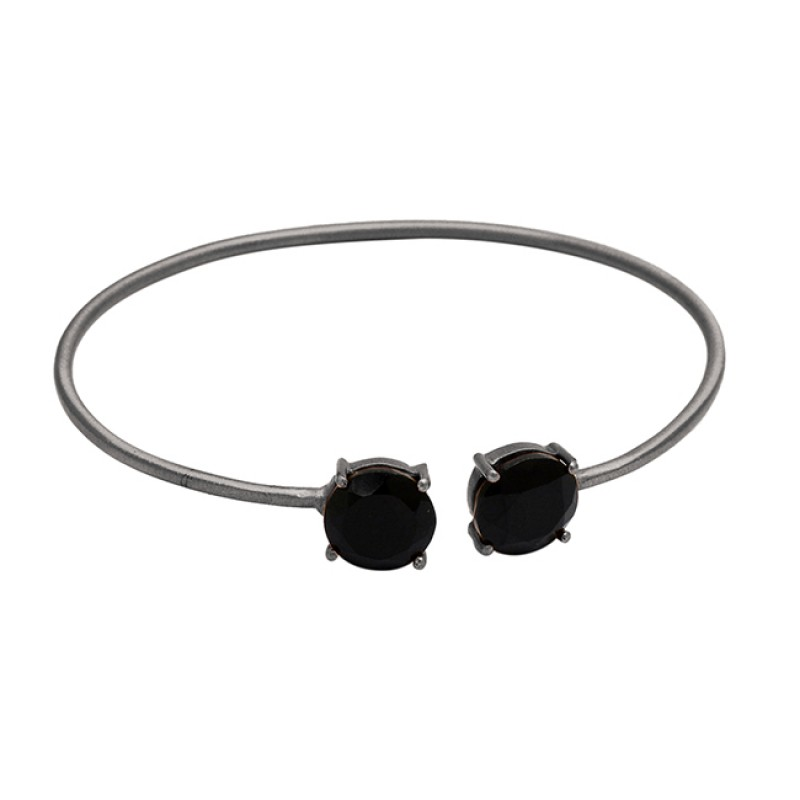 Prong Setting Black Onyx Gemstone 925 Sterling Silver Adjustable Gold Plated Bangle Jewelry