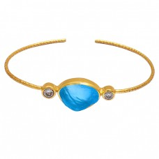 Chalcedony Crystal Quartz Gemstone 925 Sterling Silver Gold Plated Bangle
