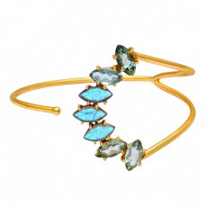 Green Amethyst Labradorite Gemstone 925 Sterling Silver Gold Plated Bangle