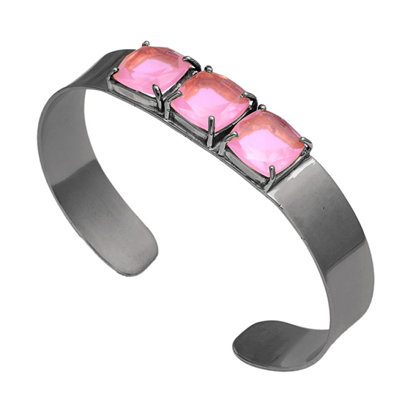 Square Shape Rose Chalcedony Gemstone 925 Sterling Silver Gold Plated Bangle