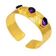 Amethyst Rough Gemstone 925 Sterling Silver Gold Plated Designer Bangle
