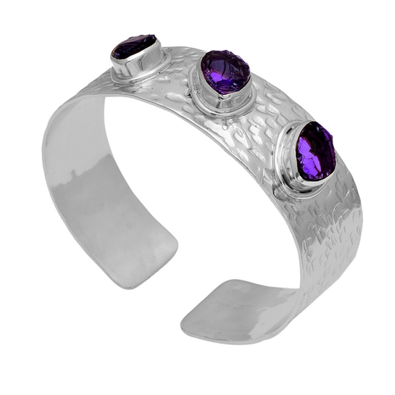 Amethyst Rough Gemstone 925 Sterling Silver Gold Plated Designer Bangle