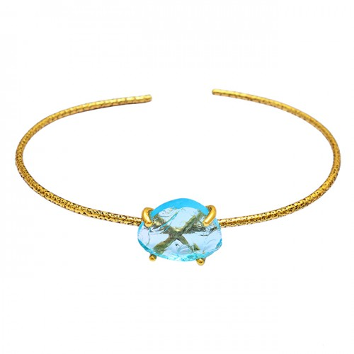 Blue Topaz Rough Gemstone 925 Sterling Silver Gold Plated Bangle Jewelry