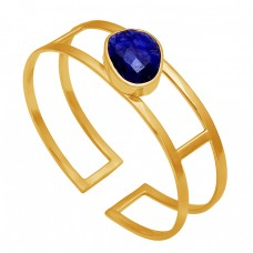 Lapis Lazuli Gemstone 925 Sterling Solid Silver Gold Plated Bangle Jewelry