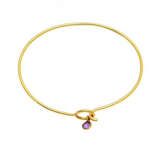 Round Shape Amethyst Gemstone 925 Sterling Silver Gold Plated Bangle