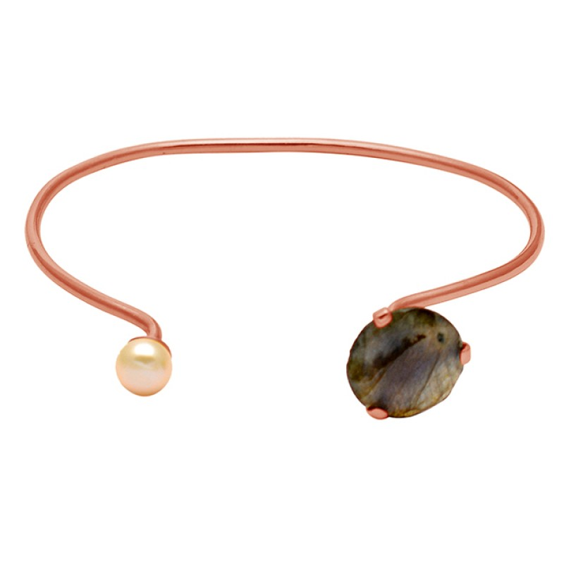 Grey Labradorite & Pearl round sterling silver gold plated bangle jewelry
